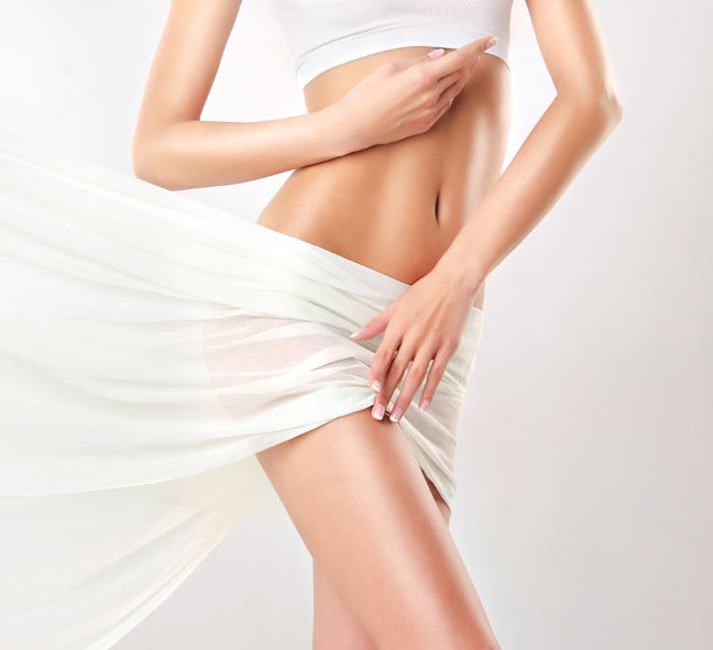 Slim Tanned Woman   Perfect Body  . Slim Toned Young Body Of The