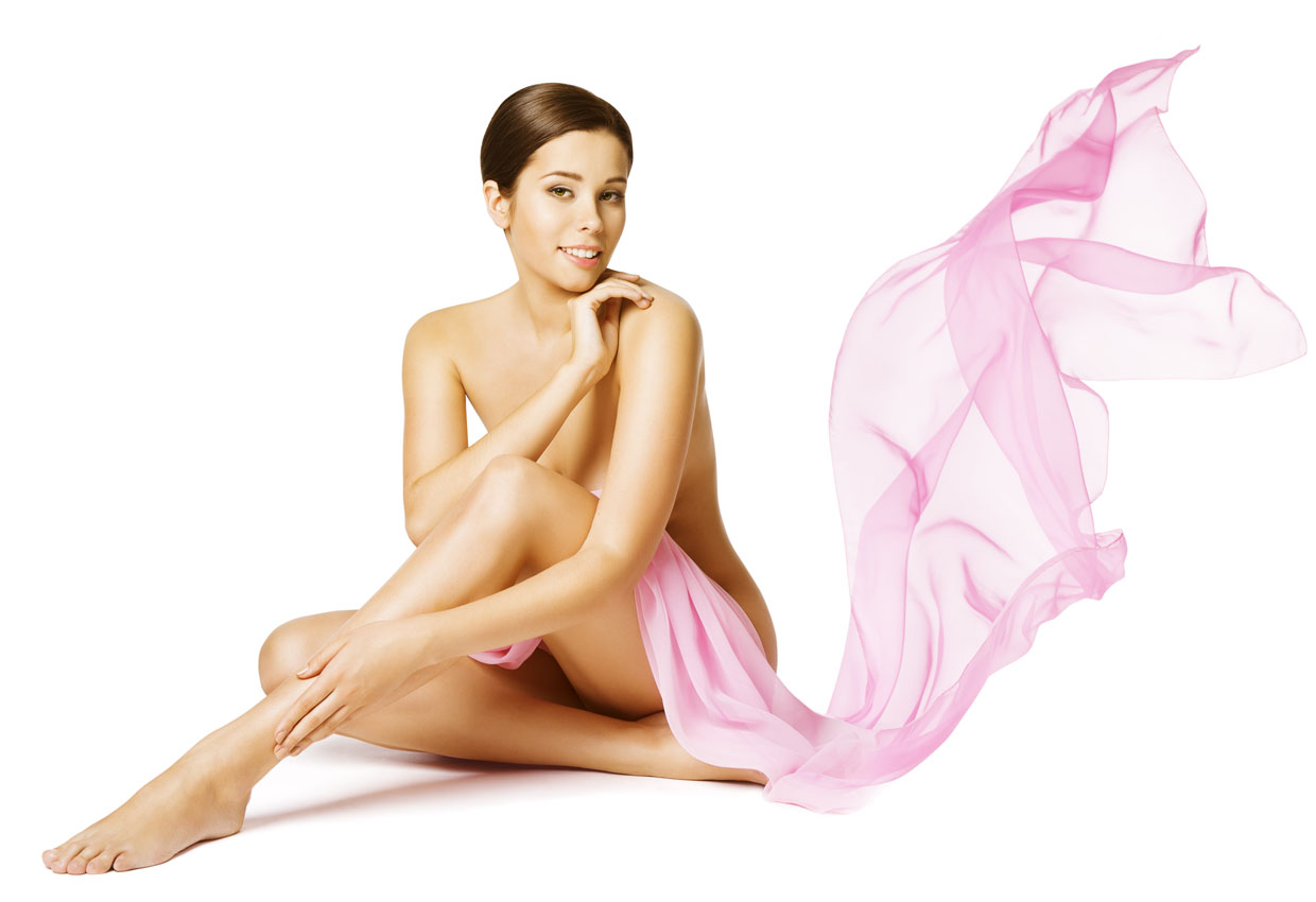 Woman Body Skin Care, Female Skincare Beauty Concept, Sexy Naked Girl Sitting Isolated Over White